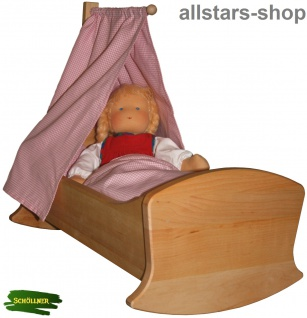 Schöllner Puppenwiege Schaukelbett Erlenholz aus dem Puppen-Möbel Sortiment Klassik für Kindergarten