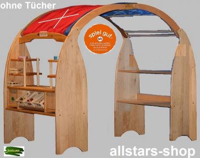 Schöllner Spielhaus geschlossen mit 2 diversen Verkaufstresen Kaufladen-Ständer + 2 Dachboden Typ 5
