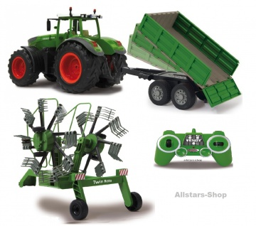 Jamara Riesen-Traktor Fendt 1050 Vario 2, 4 GHz Trecker mit Schwader und Kipper