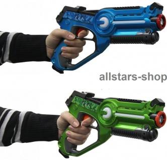 Jamara Impulse Laser-Pistole LaserGun Battle Set 2 Stück blau + grün Infrarot