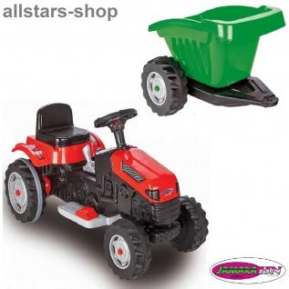 Jamara Kinder-Auto Ride On Traktor mit Elektromotor Trecker rot mit Hänger grün