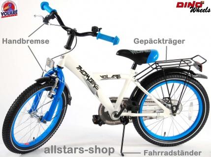 """Allstars Dino Wheels Bikes Jungenfahrrad 18 """" Thombike Kinderfahrrad + Rücktrittbremse weiß-blau"""