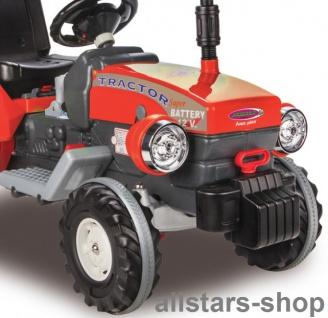 Jamara Kinder-Auto Ride On Traktor Trecker Elektro-Traktor rot mit Hänger grün - Vorschau 3