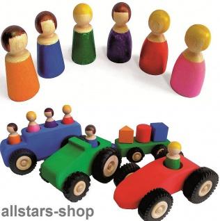 Bauspiel Holzfahrzeuge große mit 12 Holzfiguren Auto mit Anhänger + Omnibus Allstars