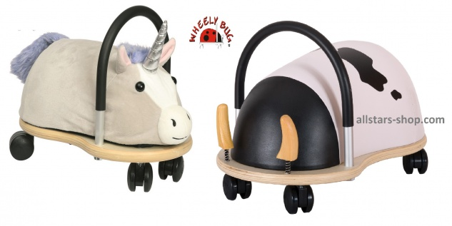 Wheely Bug Rutscher Einhorn Lyria und Kuh Maggie Kleinkindrutscher klein 360 Grad rundum allstars