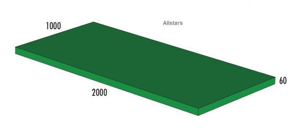Bänfer Softbaustein Turnmatte Grün 2000 x 1000 x 60 mm Maxi Schaumstoff-Baustein