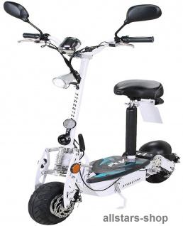 Actionbikes Elektroroller eFlux Street 20 mit Straßenzulassung E-Roller 20 km/h mit Sattel weiß