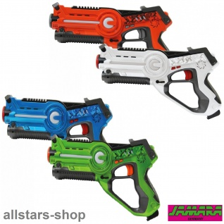 Jamara Impulse Laser-Pistole LaserGun Battle Set 4 Stück orange-weiß-blau-grün
