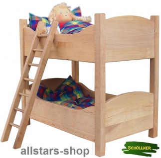 Schöllner Puppenstockbett Puppenbett Erlenholz aus dem Puppen-Möbel Sortiment Klassik für Kindergarten