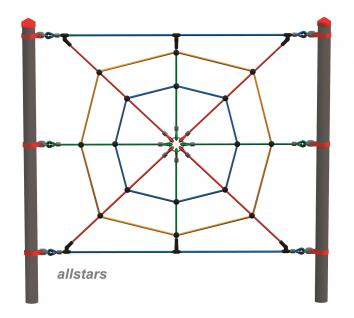 Huck Vario-Systen Element 8 Kletternetz Parcours f. Stahlpfosten Spielplatzanlage