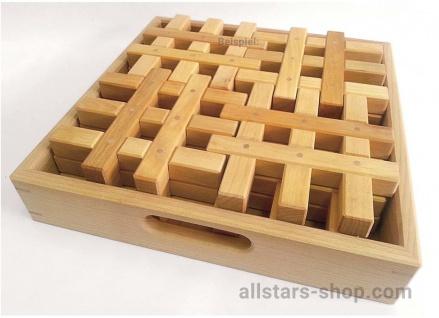 Gitterklötze im Holzkasten, 12 Stück, natur Bausteine Bauklötze Allstars