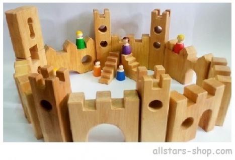Bauspiel Ritterburg Burg 16 Teile aus Erlenholz Holz-Bausteine Allstars