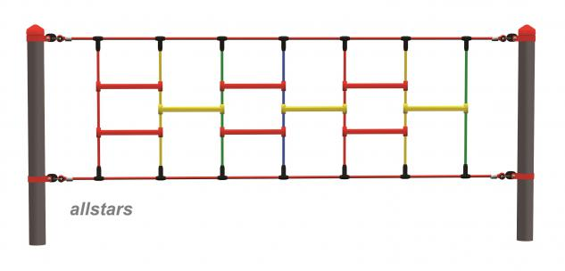 Huck Seil Parcours Modul Klettersprossen Aufhängungen Spielplatz