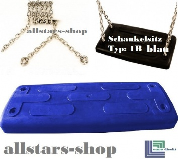Beckmann Schaukelsitz Typ 1B Gummi Schaukel gebogen mit Alu-Verstärkung + Edelstahl-Kette TÜV für öffentlichen Bereich blau
