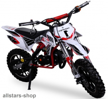 Actionbikes Kindermotorrad Kinder-Crossbike Poketbike Gazelle 49 cc Benzin-Motor weiß-rot