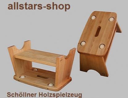 Schöllner Holzspielzeug Rollschemel Vario aus Holz Hocker mit Rollen Rutscher