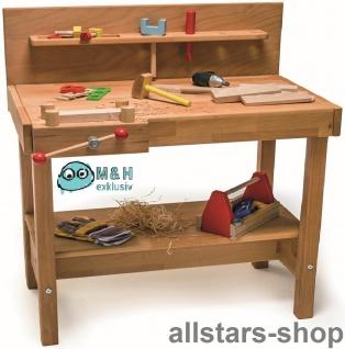 Allstars Werkbank aus Holz Massivholz für Kindertagesstätte Spielwerkbank mit Schraubstock drehbar