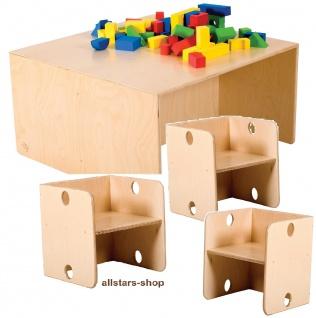 Allstars wandelbare Kindermöbel Tisch + 3 Stühle Möbel-Set, Kinder Sitzgarnitur aus Birkenholz
