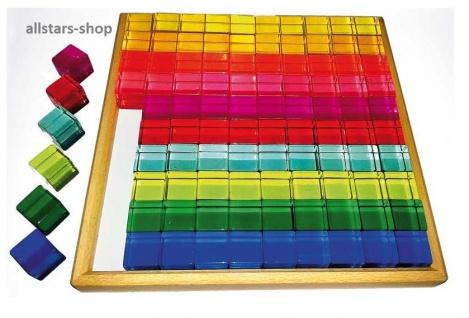 Acryl-Bauwürfel im Holzrahmen 100 teilig in 10 Farben Bausteine Bauklötze allstars
