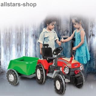 Jamara Kinder-Auto Ride On Traktor Trecker Elektro-Traktor rot mit Hänger grün - Vorschau 2