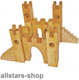Bauspiel Ritterburg Burg 10 Teile aus Erlenholz Holz-Bausteine Allstars