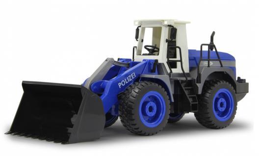 Jamara RC Auto Radlader Polizei 1:20 blau 2, 4 GHz Bagger Funk Motorsound