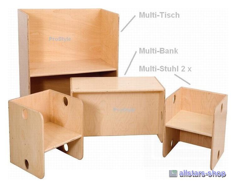 Allstars Kindermöbel Möbel Kiga Multimöbel Set Tisch Bank Stühle