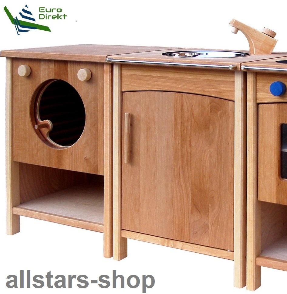 Schöllner Kinderküche Vario Single 2 Geräte Mit Waschmaschine Spüle  Kühlschrank Spielküche Erlenholz Pantry 1 ...