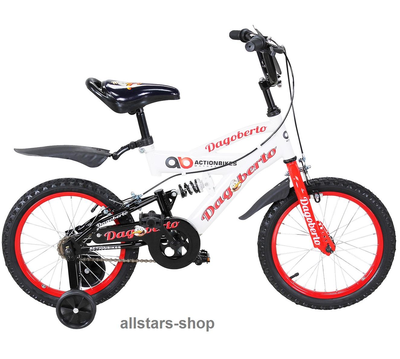 Actionbikes Kinderfahrrad Kinder-Fahrrad - Dagoberto - 16 Zoll rot-weiß  Bike Mädchen Jungen