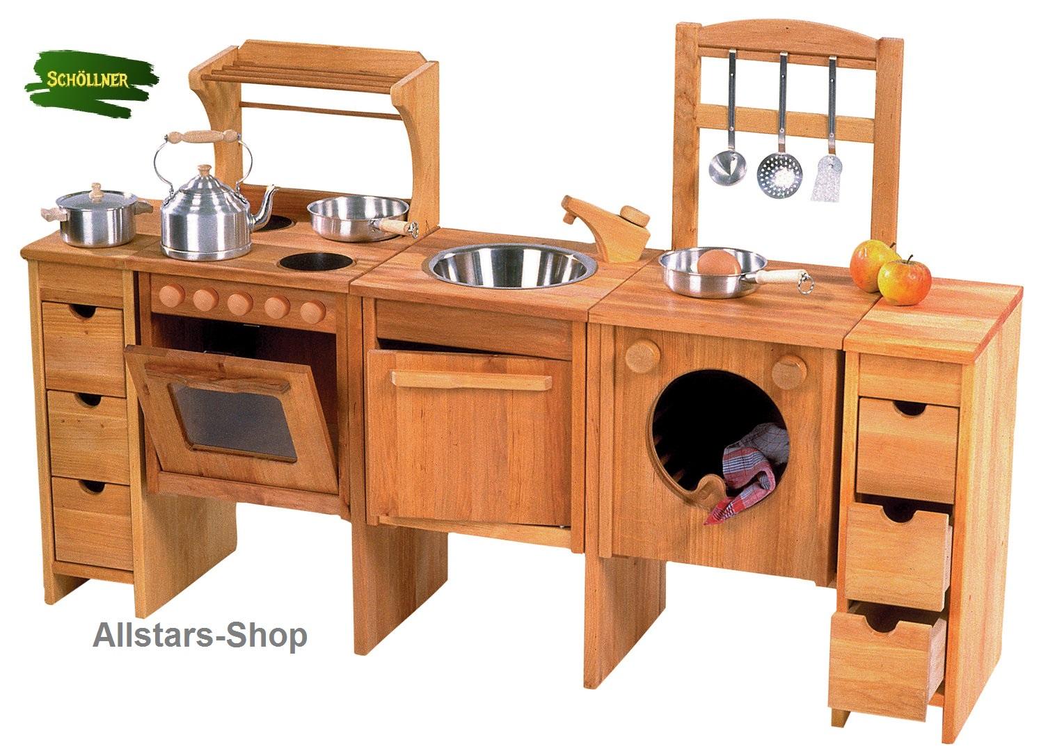 Schöllner Kinderküche Spielküche Star Maxi aus Holz mit Herdplatten,  Waschmaschine, Backofen, Schrank und Spüle für Kindergarten