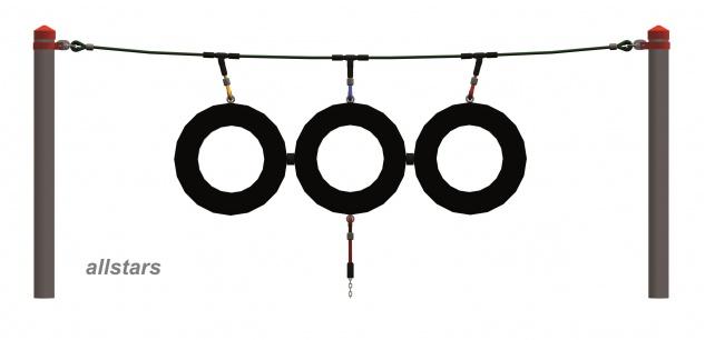 Huck Mini Seil Parcours Seilparcours Modul Reifen Schaukelreifen + Aufhängungen