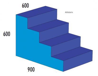 Bänfer Softbaustein Treppe 4-stufig Blau 60 x 90 x 60 Maxi Schaumstoff Großbaustein