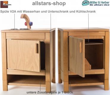 Allstars Kinderküche Puppen-Kühlschrank + V2A-Spüle mit Unterschrank + Zusatzfach H = 55, 5 cm