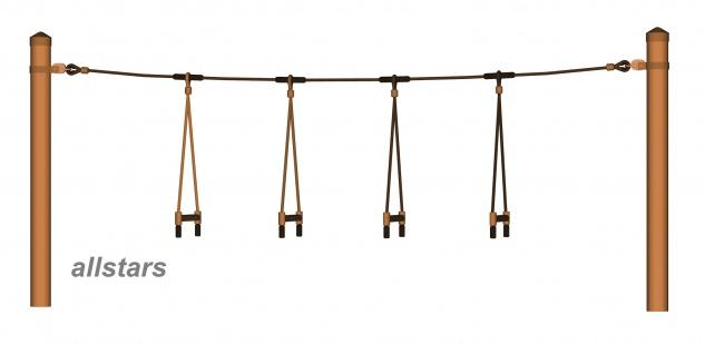 Huck Seil Parcours Seilparcours Modul Strickleitersprossen Aufhängung f.Robinie
