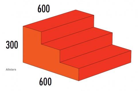 Bänfer Softbaustein Treppe 3-stufig Rot 60 x 60 x 30 Maxi Schaumstoff Großbaustein