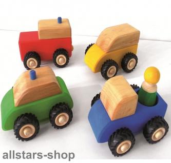 Bauspiel Holzbausteine Holzfahrzeuge 4-er Set Holzautos mit Gummiräder + 1 Holzfigur Allstars