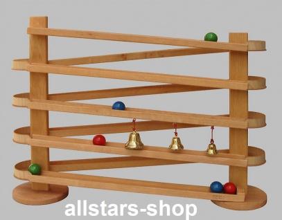 Schöllner Holzspielzeug Riesenkugelbahn Kugelbahn Wellenbahn mit Kugeln und Glöckchen