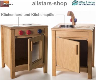 Allstars Kinderküche Herd mit Backofen und Spültisch-Schrank Spielküche H = 45, 5 cm