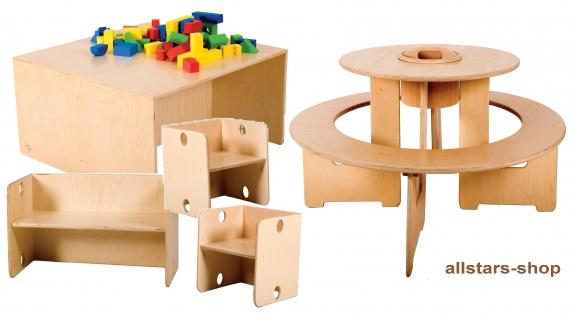 Allstars Kindermöbel, runde Sitzgruppe + Tisch, Bank + 2 Stühle, das wandelbare Multi-Möbel-Super-Set