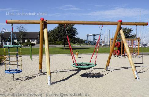 Huck Schaukel Schaukelgestell extra lang L=6, 8 m, f. 3 - 4 Sitze Vogelnestschaukel