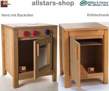 Allstars Kinderküche Spielküche 1 Herd mit Backofen plus Kühlschrank H = 45, 5 cm Buchenholz