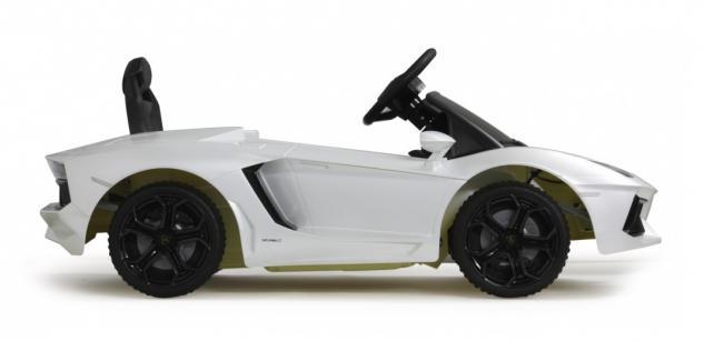 Jamara Ride on Car Lamborghini Aventador weiss Kinderauto mit E-Motor zum Selbstfahren Elektroauto mit RC-Fernbedienung