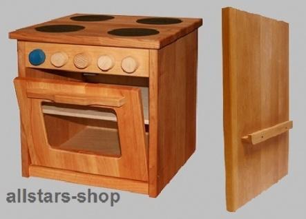 Schöllner Ofen Backofen für Kinderküche Spielküche Star Maxi aus Holz mit Herdplatten und Seitenteilen H = 50 cm