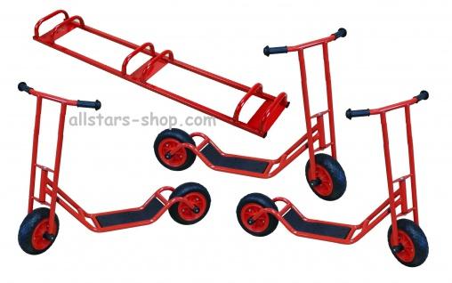 Allstars 3 Roller Cityroller Scooter KiGa-Roller Kindergartenroller E-Vinyl-Räder Maxi + Ständer