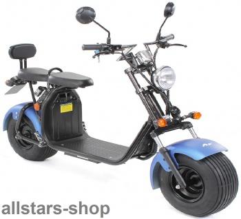 Actionbikes Elektro-Roller Easy Rider Harley Two Sitze Elektro-Scooter Chopper STVZO blau-matt