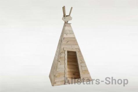 Allstars Indianerzelt aus Holz 3 Wände Holzhaus Kinder-Spielhaus mit Holzfußboden dreieckig