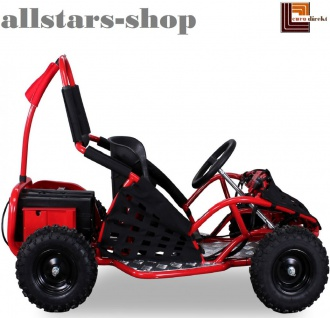 Actionbikes Kinderauto Buggy Go-Kart Miniquad Racer Batterie angetrieben 1000 Watt Quad schwarz-rot