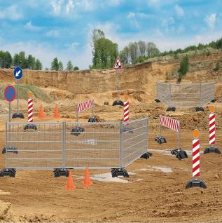 Jamara Baustellen-Set Verkehrszeichen Pylone Zaun Schranke Warnschild Leitbake für Kindergarten