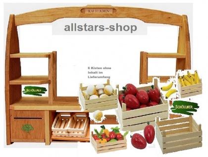 Schöllner Holzspielzeug Tischkaufladen mit 6 Obststeigen Kisten ohne Inhalt