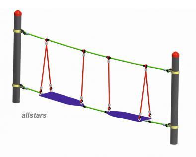 Huck Seil-Parcours Modul Surfer mit Aufhängungen Spielplatzanlage Seil Parcours